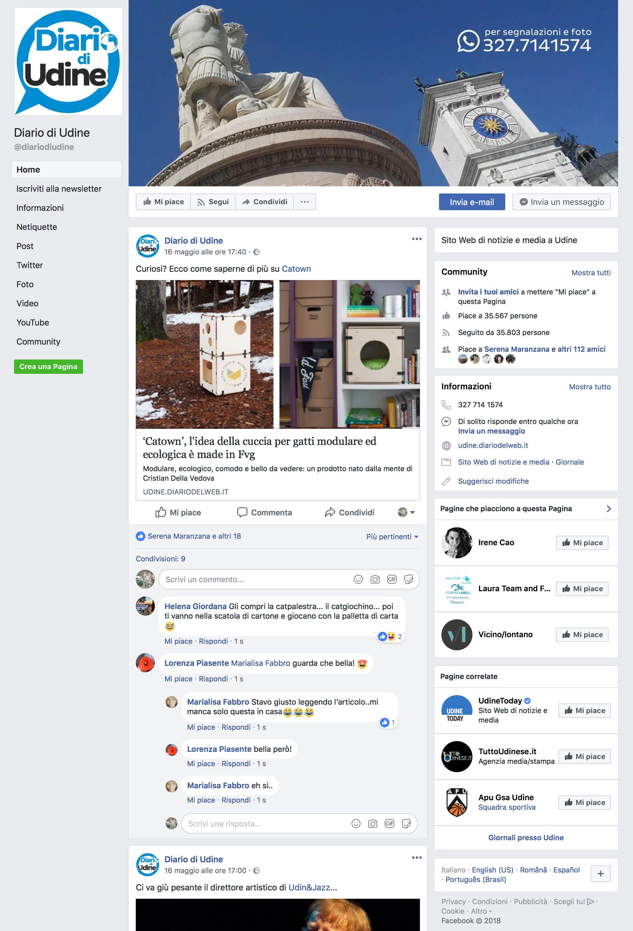 catown facebook diario di udine